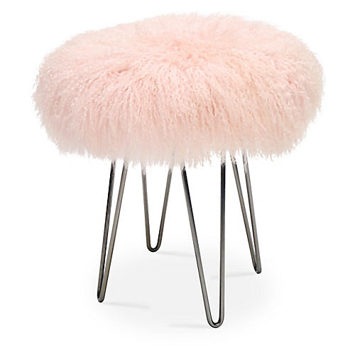 Curly Hairpin Stool, Pink