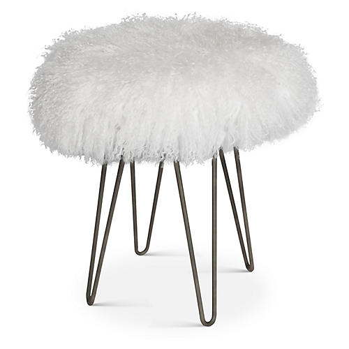 Curly Hairpin Stool, Silver/White