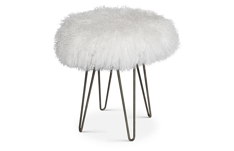 Curly Hairpin Stool, White