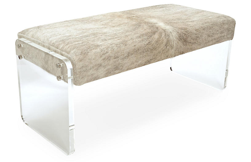 Samantha Skinny Bench, Beige/Gray