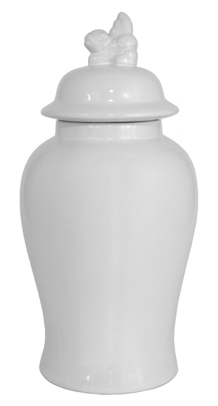 "18"" Ceramic Covered Jar, White"