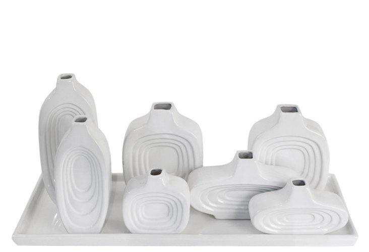 S/7 Ceramic Vases on Tray