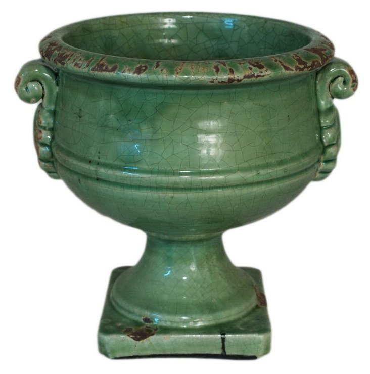 "11"" Striped Urn, Green"