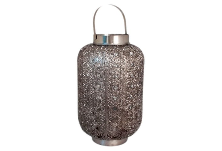 Floral-Design Metal Lantern, Small