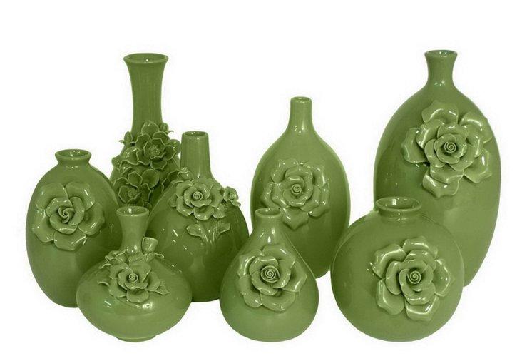 S/9 Ceramic Vases, Green