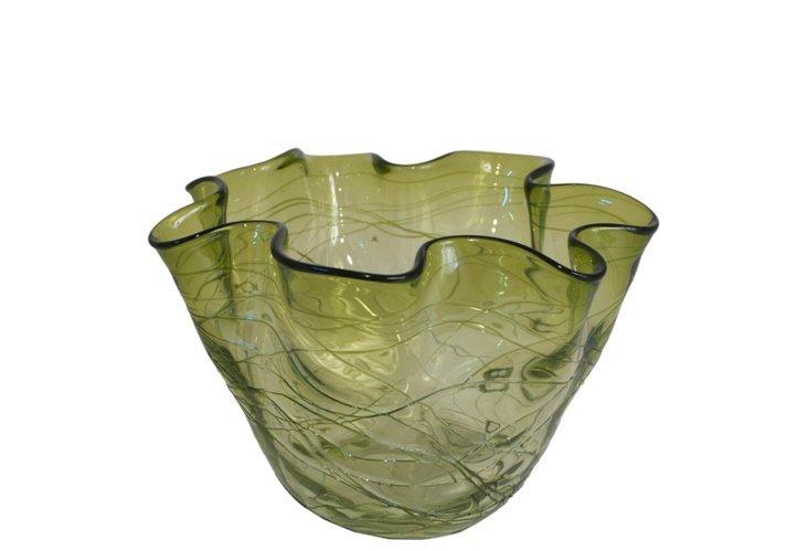 """6"""" Folds Vase, Green"""