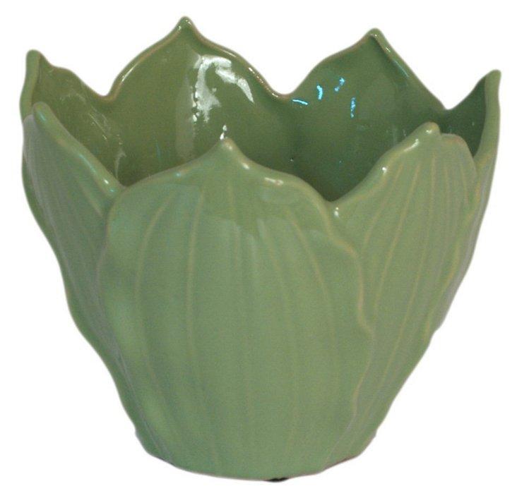 "6"" Overlapping Leaf Vase, Green"