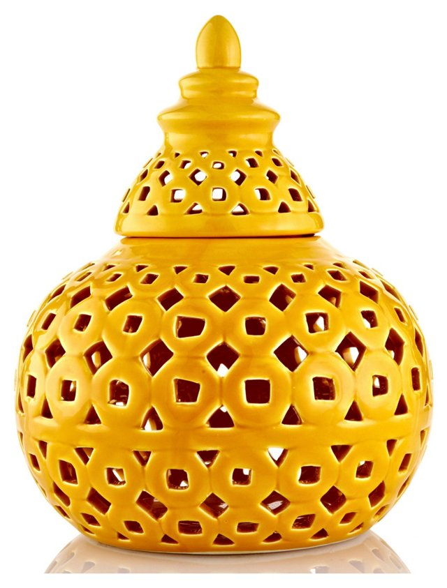 "9"" Covered Ceramic Jar, Yellow"