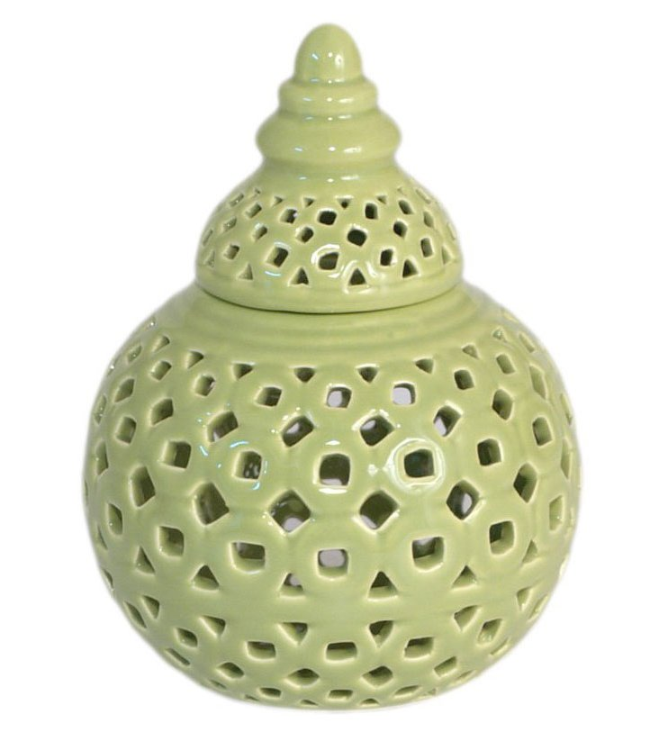 """6"""" Covered Temple Jar, Green"""