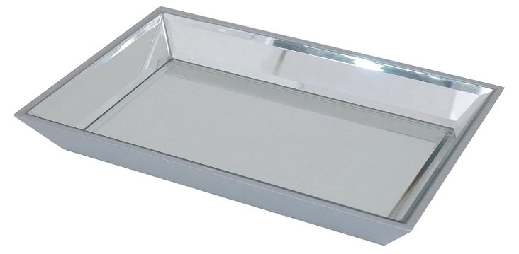 """17"""" Beveled Mirrored Tray, Silver"""