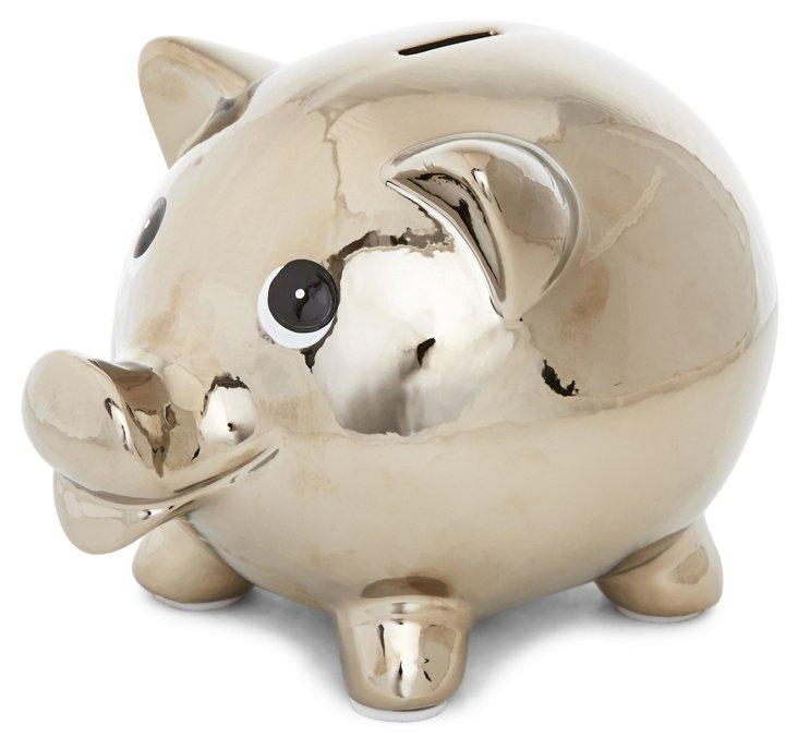 "7"" Piggy Bank, Silver"