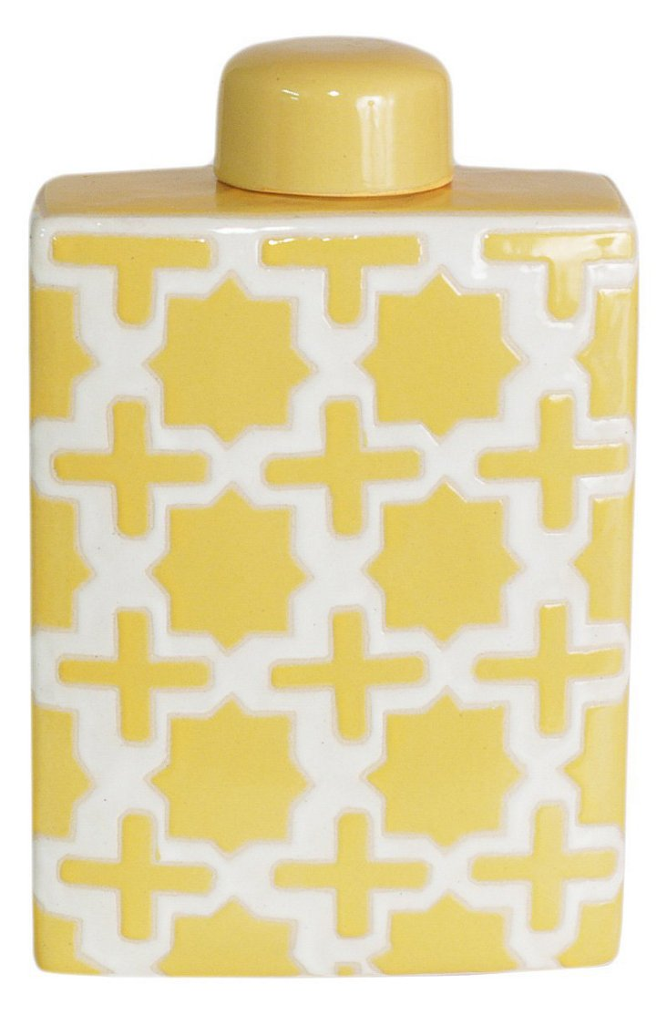 "13"" Trellis Covered Jar, Yellow"