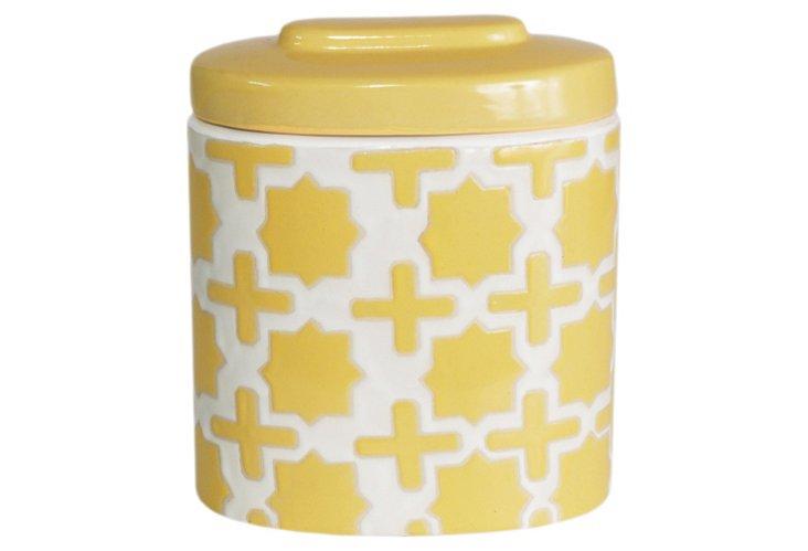 "10"" Trellis Covered Jar, Yellow"