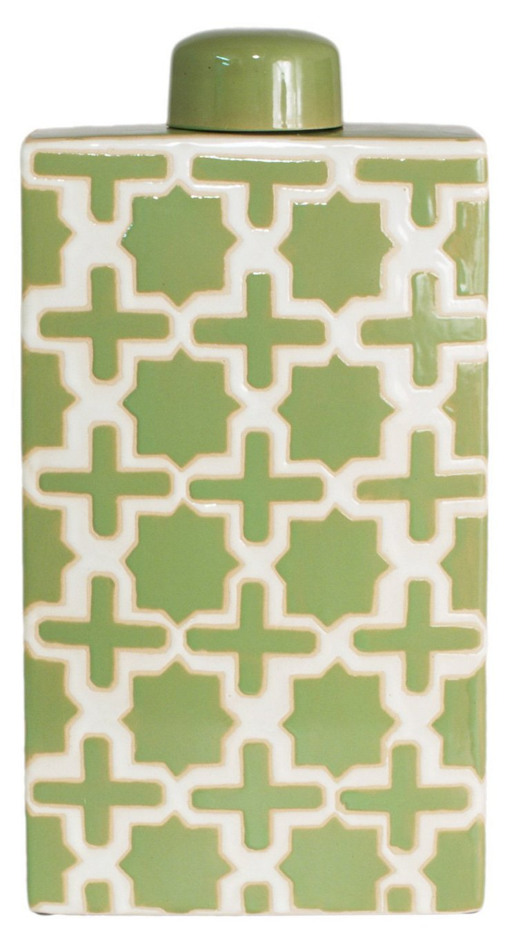 "17"" Trellis Covered Jar, Green"