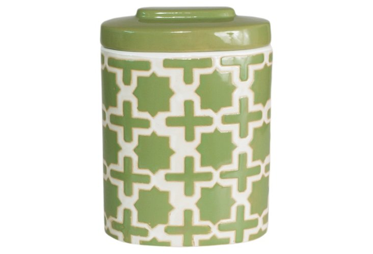 "12"" Trellis Covered Jar, Green"