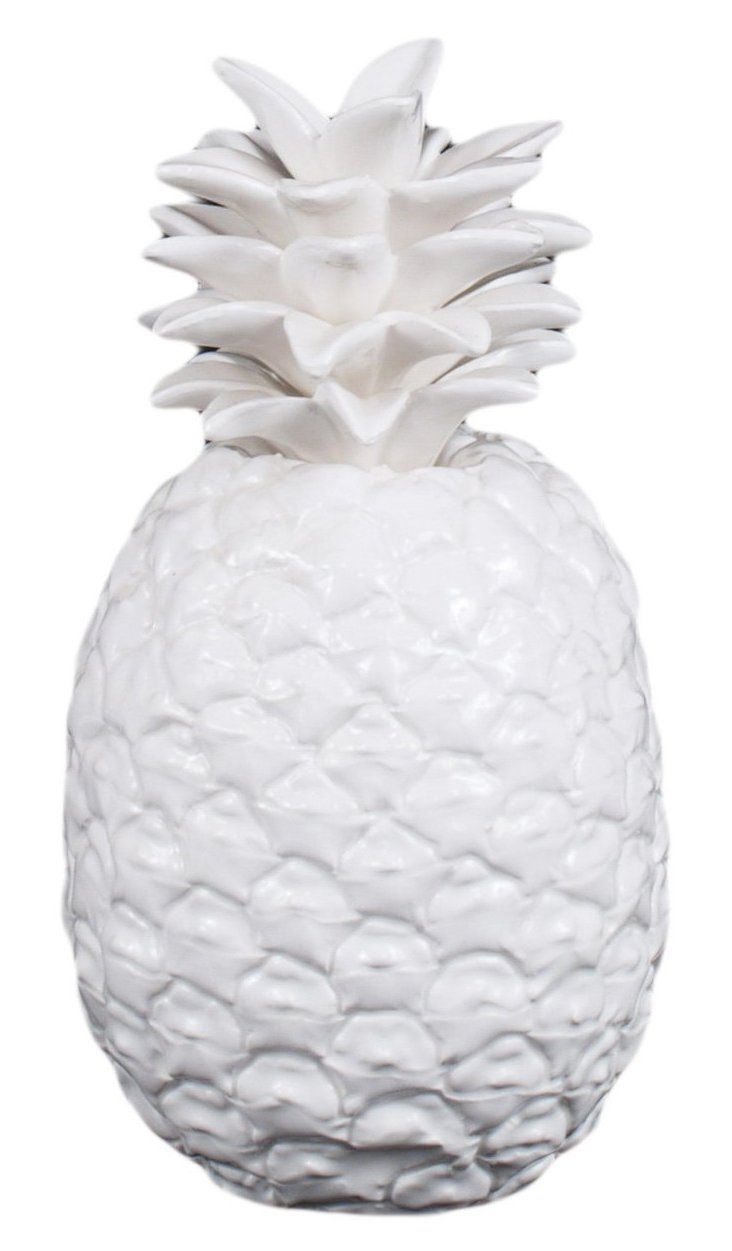 "10"" Ceramic Pineapple Figurine, White"