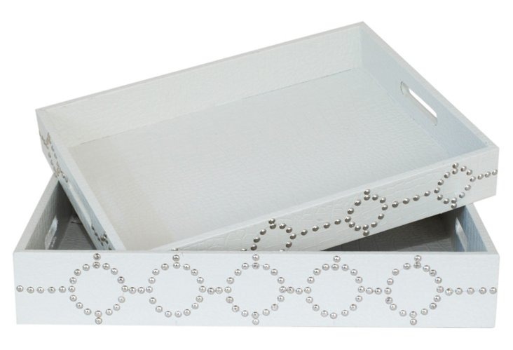 S/2 Studded Trays, White