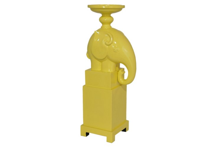 "16"" Elephant Candle Stand, Yellow"