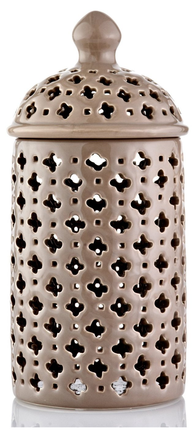 "11"" Pierced Ceramic Jar, Taupe"