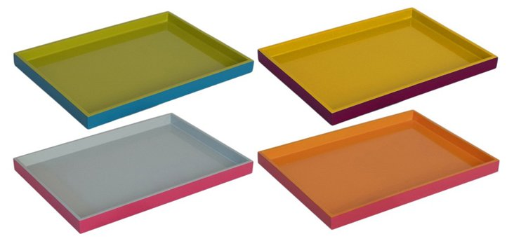 Asst. of 4 Two-Tone Wood Trays