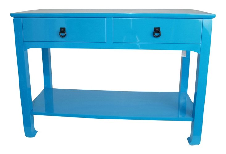 Lola Double Drawer Table, Glossy Blue