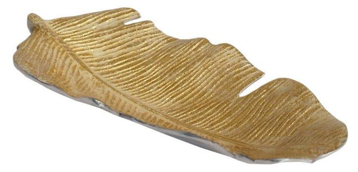 Short Leaf Tray, Gold