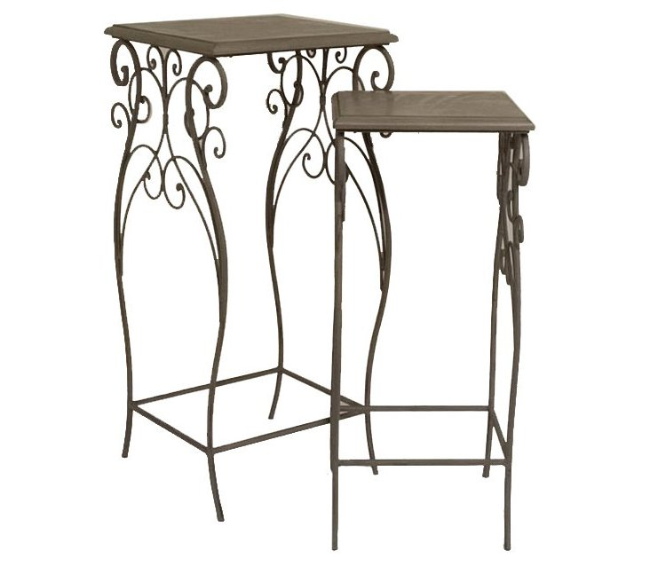 Brown Gail Flower Stands, Set of 2