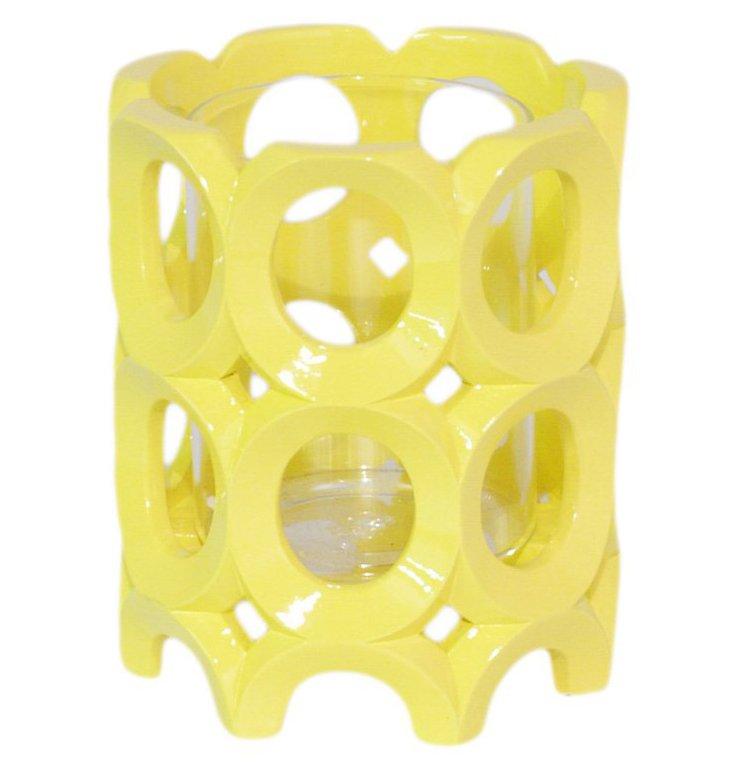 Circle Pierced Candleholder, Yellow