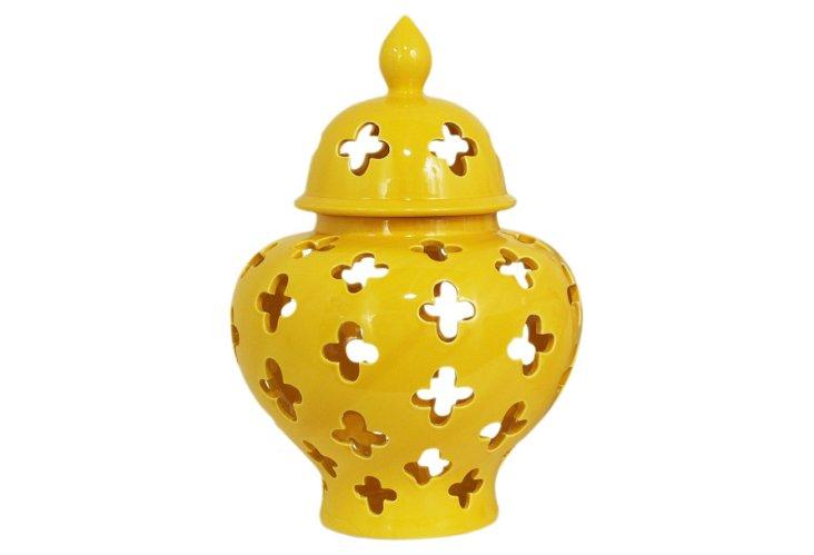 "16"" Covered Ceramic Temple Jar, Yellow"