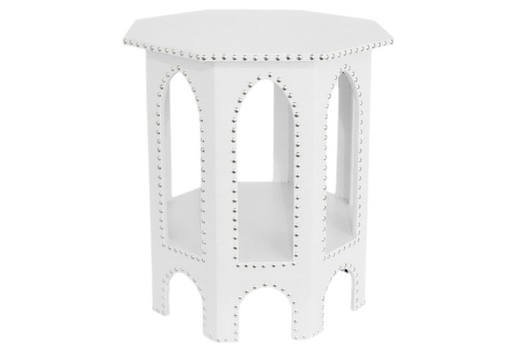 Studded Moroccan Table, White