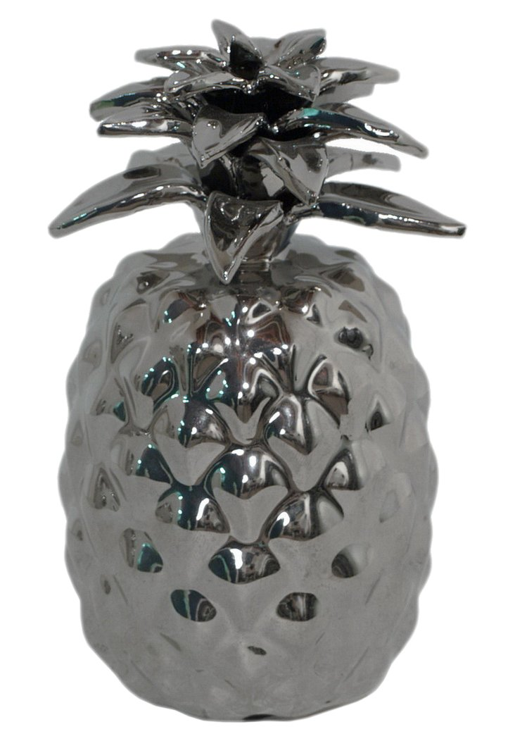 S/2 Ceramic Pineapples, Silver