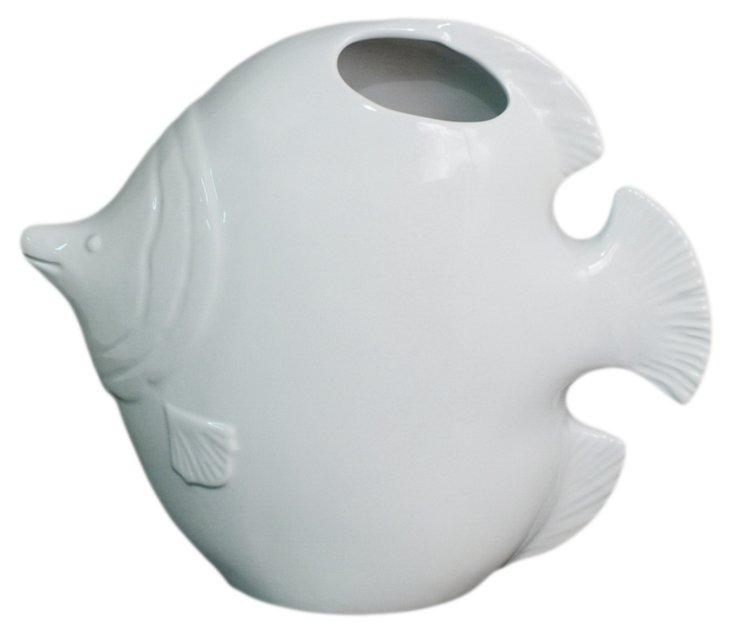 "14"" Fish Vase, White"