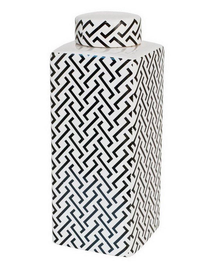 "14"" Maze Jar, Black & White"