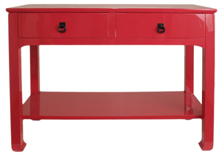 Lola Double Drawer Table, Glossy Red