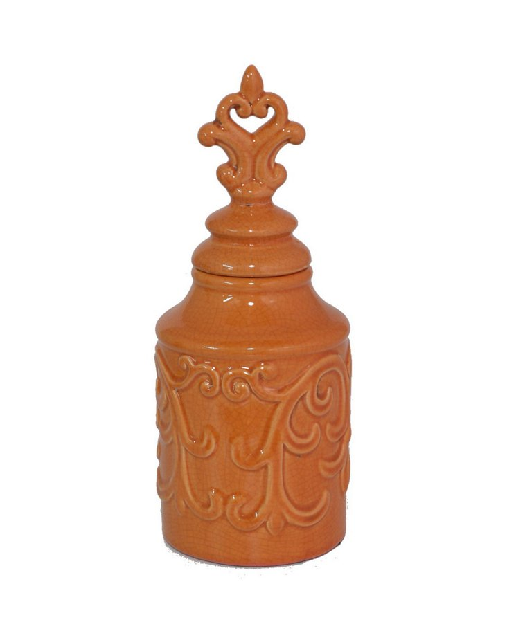 Covered Jar, Orange