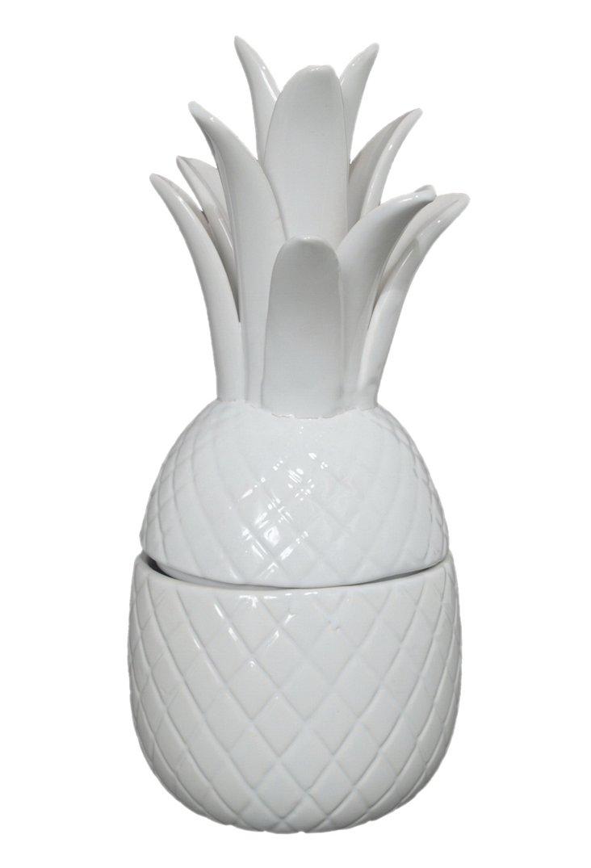 "14"" Ceramic Pineapple Jar, White"