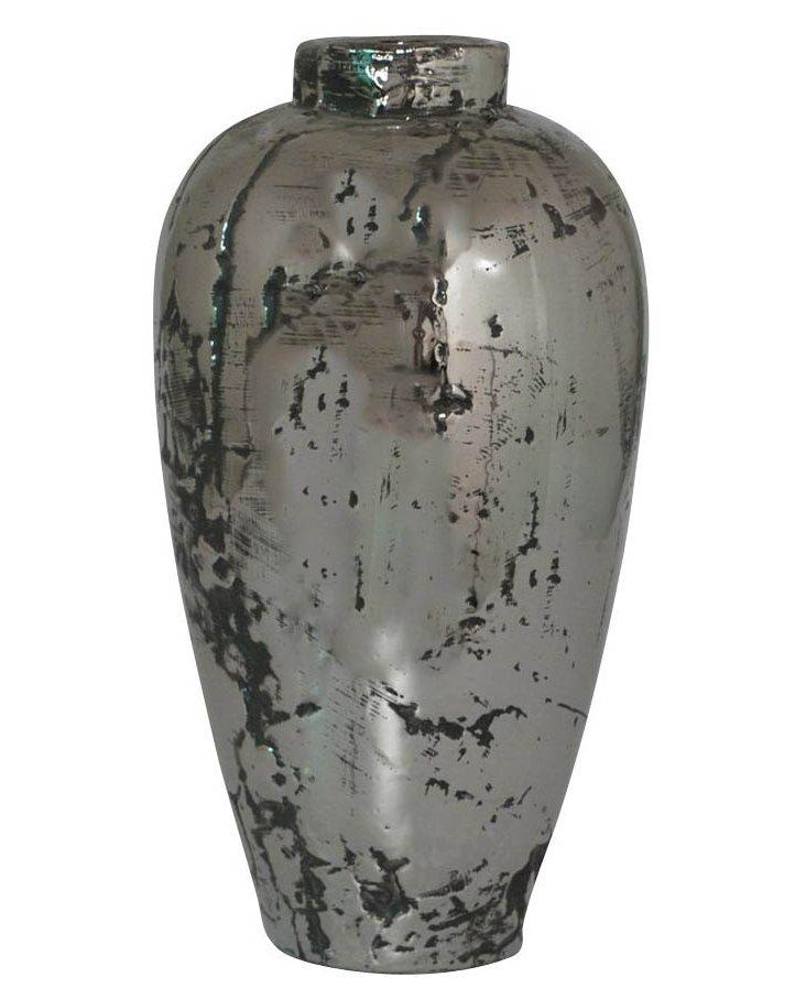 """16"""" Ceramic Vase, Silver"""