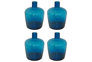S/4 Glass Bottle Vases, Blue