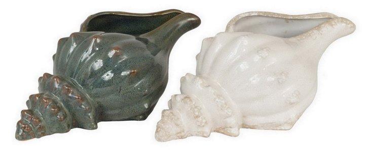"""18"""" Ceramic Seashells, Asst. of 2"""