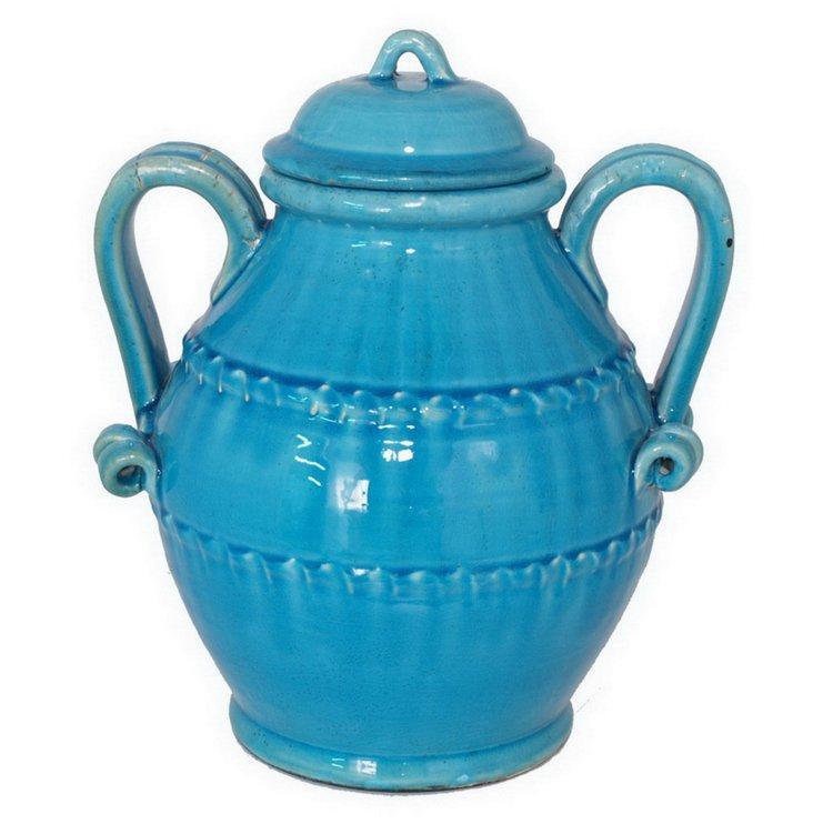 "14"" Covered Ceramic Urn"