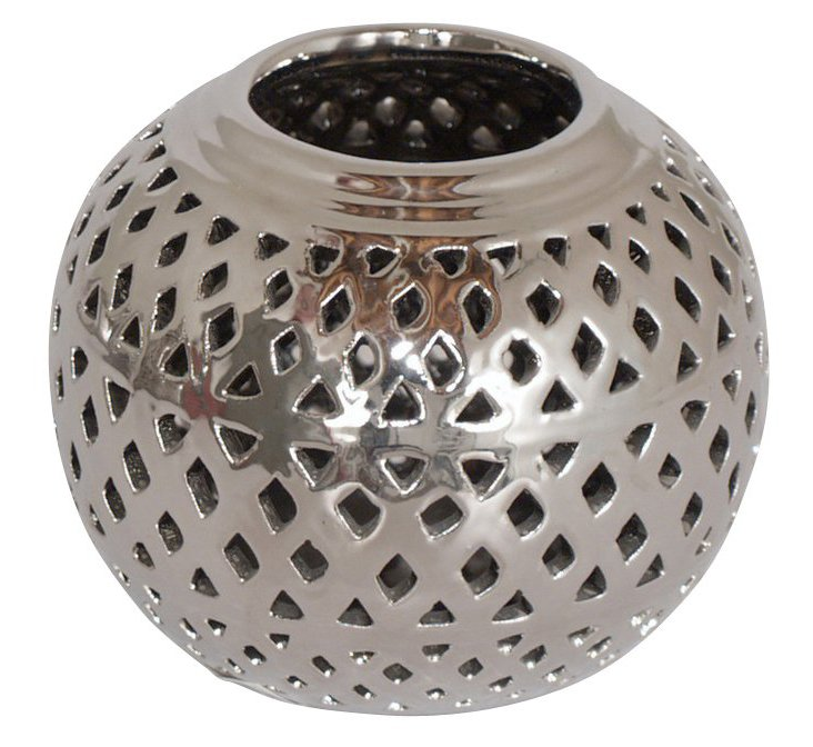 Pierced Ceramic Votive Holder, Silver