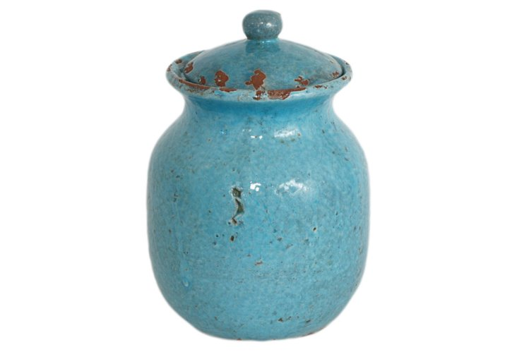 Turquoise Glazed Heirloom Jar, Large