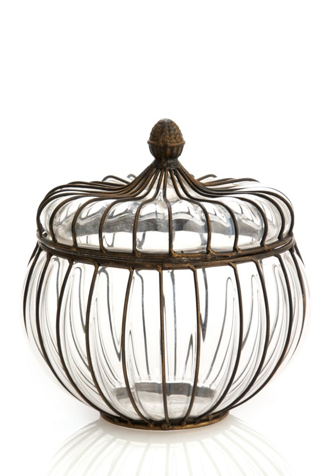 """10"""" Wire & Glass Covered Jar"""