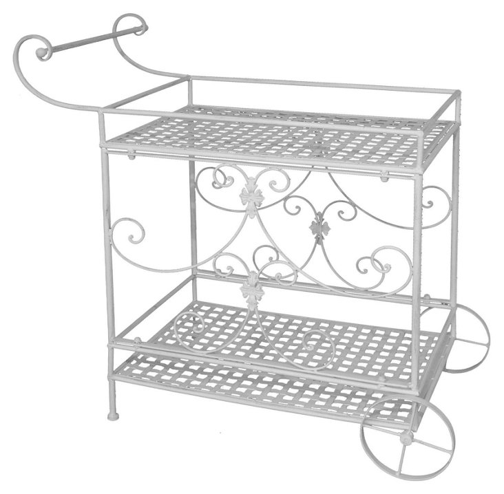 Jeffrey Dining Cart, White