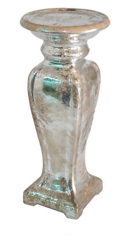 "13"" Distressed Ceramic Candleholder"