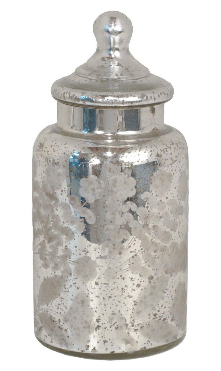 "10"" Covered Mercury Glass Jar"