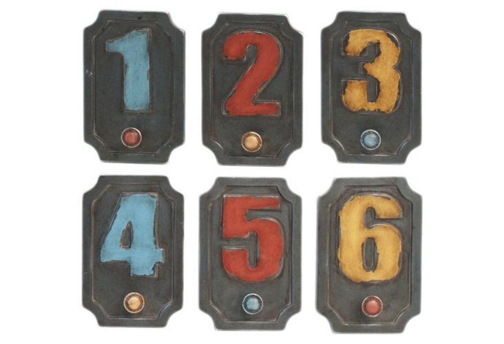 S/6 Numbered Wall Hooks