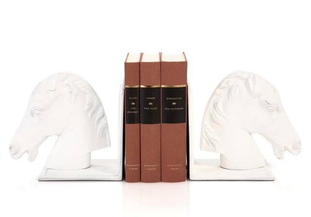 Pair of White Horse Bookends