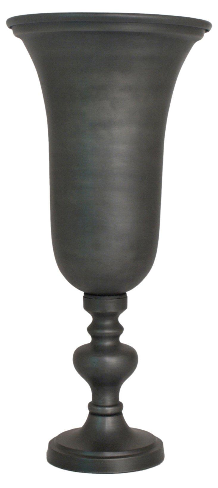 Gray Plated Vase, Short