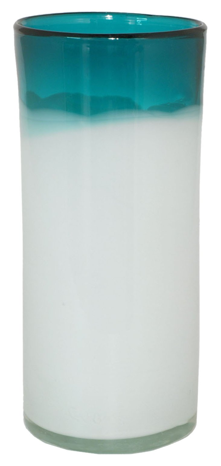 "12"" Two-Tone Glass Vase, White/Turquoise"